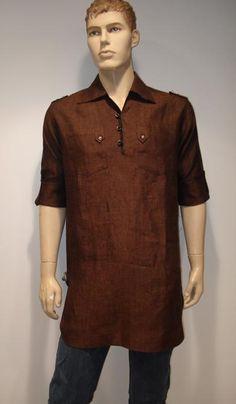 G3 fashions Coffee Linen Short Pathani Kurta  Product Code : G3-MSP1008 Price : INR RS 2295