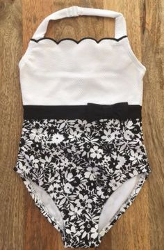 1168f33264 Swimwear 152398  Nwt Janie And Jack Swimmer Girl Swimsuit Floral White  Halter Retro