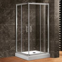 "38"" Square Corner Shower Enclosure with Dual Sliding Doors"