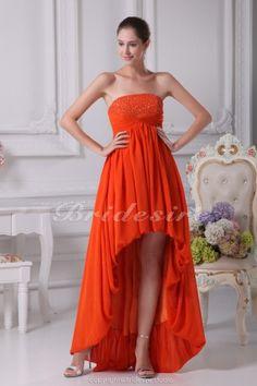 A-line Strapless Asymmetrical Short/Mini Sleeveless Chiffon Dress - $124.99