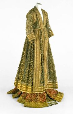 The Gown of the 'Queen of Oudh,' mid-19th century,India, Uttar Pradesh, Awadh, Silk with metal ribbon ornaments, Victoria and Albert Museum, London.