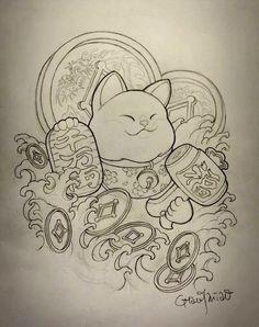 Japanese Dragon Tattoos, Japanese Tattoo Art, Lucky Cat Tattoo, Fu Dog, Japanese Cat, Asian Tattoos, Japan Tattoo, Oriental Tattoo, Maneki Neko