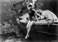 Vintage wreck-diving woman. Photographer unknown. #vintage #SCUBA