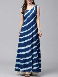 Buy Blue Cotton Indigo Kurta by Nayo - Online shopping for Kurtas in India Kurta Designs Women, Blouse Designs, Indian Designer Outfits, Designer Dresses, A Line Kurti, Cotton Gowns, Kurti Designs Party Wear, Indian Dresses, Dress Patterns
