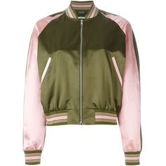 Alexander McQueen Embroidered Bomber Jacket ($1,810) ❤ liked on Polyvore featuring outerwear, jackets, alexander mcqueen, tops, green, bomber style jacket, zip front jacket, embroidered jacket, flight jacket and green jacket
