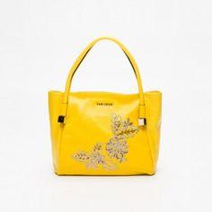 Bolso cuero amarillo 35 x 26,5 x 12 cm