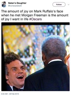 This is still one of my favorite reactions. What I don't understand is Ruffalo has WORKED with Freeman before; why is he so shook!?