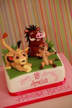 Simba and Pumba cake Lion King Theme, Lion King Party, Lion King Birthday, Lion Cakes, Lion King Cakes, Jungle Theme Cakes, Le Roi Lion, Fondant Tutorial, Fondant Toppers