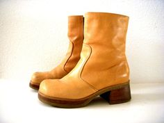 Vintage 70s Tan Platform Boots  Chamois Tan by OmAgainVintage