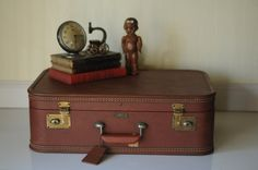 Vintage Suitcase Luggage Navy Blue Suitcase by PageScrappers, $37.50