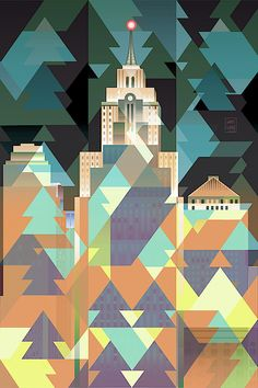February City Lights by Garth Glazier Detroit Skyline, Building Painting, Quilt Designs, Blue Tones, City Art, Geometric Art, City Lights, Christmas Trees, Michigan