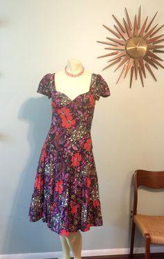 Betsey Johnson Cap Sleeve Purple Red Flowers by CraigOandAlice