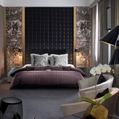 """Beautiful custom headboard and wallpaper . """"Luxury Beyond Limits"""". Can reach our design team for all your project needs at . Hotel Room Design, Luxury Bedroom Design, Bedroom Furniture Design, Master Bedroom Design, Modern Bedroom, Bedroom Decor, Interior Design, Ikea Interior, Bed Headboard Design"""