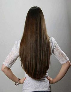 Straight Long Hair Back View