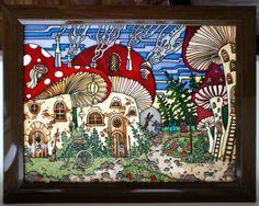 """Gallery.ru / """"Грибной город, стекло 3040 см. + рама - Картины - enehi"""