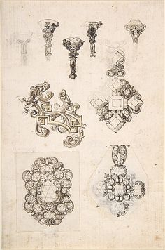 Sheet of Jewelry or Decorative Designs Anonymous (Italian, century (?)) Sheet of Jewelry or Decorative Designs Anonymous (Italian, century (? Jewelry Model, Jewelry Art, Antique Jewelry, Vintage Jewelry, Jewelry Quotes, Fashion Jewelry, Dainty Jewelry, Glass Jewelry, Boho Jewelry