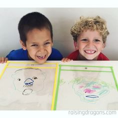 Drawing Portraits is a super fun partner activity that is great for kids and adults and a wonderful ice breaker. Make a monster version for Halloween! kindergarten Drawing Portraits on Sheet Protectors * ages ⋆ Raising Dragons Learning Activities, Preschool Activities, Emotions Activities, Educational Activities, Teaching Kids, Kids Learning, Games For Kids, Art For Kids, Children Games