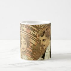 Vintage Art Nouveau Love Romance, Flirt by Mucha Coffee Mug
