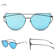 Fashion Bue Lenses Cat Eye Black Frame Sunglasses