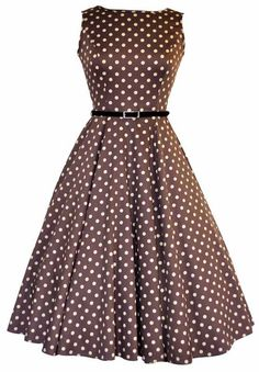 Mocha Polka Dot Hepburn Style Dress Size 10 50s Perfect for a Wedding Guest Outfit or Tea Party