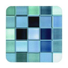 Aquamarine sea glass coaster set with cork back