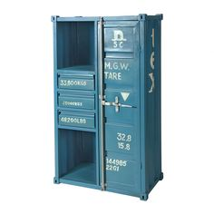Industrial Shipping Container Cabinet, Blue