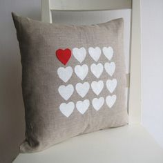 hearts on linen pillow (pillow, home decor, hearts, brown, white, red)
