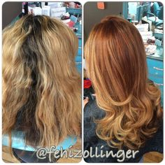color correction. before and after, red copper ombre, balayage, balayage highlights and lowlights, long hair, loose curls