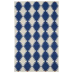 Flatweave Blue Wordly Wool Rug (8' x 10') | Overstock.com Shopping - Great Deals on 7x9 - 10x14 Rugs