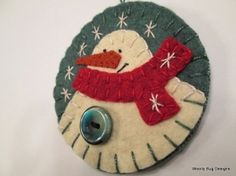 White Wool Felt Snowman Ornament Red Wool Felt by WoollyBugDesigns by kyrie.ratliff