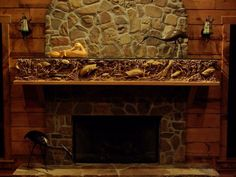 Hand Carved wood mantel.