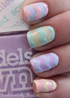 Love these pastel chevrons #modelsown #nails #pastel