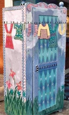 Whimsical Hand Painted Armoire by Mary Wright
