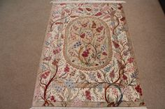 Pictorial Tree Of Life Silk Qom Persian Rug Pure Handmade Qum Carpet With A Picture