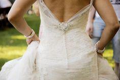 Brooch Sparkles on Back of Wedding Dress