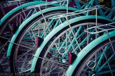 Teal Turquoise Bicycle Bikes Art Print Photograph Bicycle Lover Gift Modern Aqua Home Decor Wall Art Bike Wheels New York City Photograph