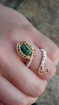 Adjustable Wire Wrapped Emerald Ring