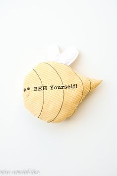 BEE yourself pillow cuddle lovey one of a kind by WiseSewcialTies,