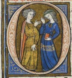 """Conversazione tra uomo e donna - miniatura dalla """"Biblia Porta"""", XIII sec. - Losanna."""
