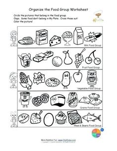 Free food groups printable nutrition education worksheet- Kids learn about the USDA Food Pyramid food groups- students will identify the foods in each food group, circle food group foods and color the nutrition theme pictures. Free Printable Worksheets, Worksheets For Kids, Kindergarten Worksheets, In Kindergarten, Bullying Worksheets, Symmetry Worksheets, Alphabet Worksheets, Nutrition Education, Nutrition Classes