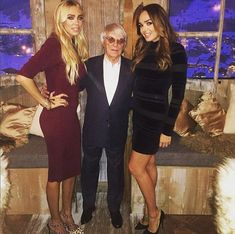 Mr Ecclestone pictured with his daughters Petra, left, and Tamara, right. The makeover bore more than a passing resemblance to the family's £23million chalet in Gstaad, Switzerland