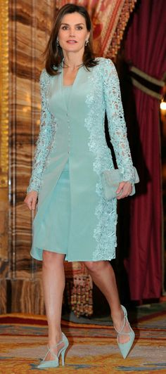 Queen Letizia - mint green embroidered lace coat and dress by Felipe Varela  - Magrit clutch de2a5050a666