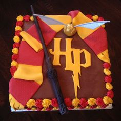 Harry Potter Cake -- Minus the wand and the golden snitch; I have found a local bakery to make this cake for my daughter's birthday! Gateau Harry Potter, Cumpleaños Harry Potter, Harry Potter Birthday Cake, Fete Laurent, Gateaux Cake, Cake Central, 11th Birthday, Birthday Cakes, Birthday Ideas