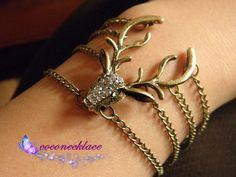 restro brass elk deer antlers bracelet by CocoNecklace on Etsy, $2.99