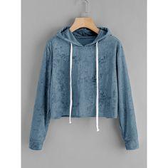 Velvet Drawstring Crop Hoodie ❤ liked on Polyvore featuring tops, hoodies, blue top, blue hoodie, cropped drawstring hoodie, cropped hoodie and cropped hooded sweatshirt