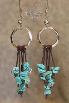 Beaded Jewelry These beautiful earrings are made using Hammered Silver Metal Rings, Small Silver Plated Beads, Brown Hemp Cord and Faux Turquoise Nugget Leather Jewelry, Boho Jewelry, Jewelry Crafts, Beaded Jewelry, Jewlery, Fashion Jewelry, Jewelry Ideas, Amber Jewelry, Silver Jewelry