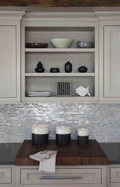 lite grey kitchen cabinets - Love the backsplash