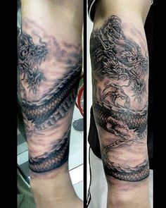 I need to find something similar to this with a dragon at my shoulder and it's tail that wraps around my arm a few times to my wrist. Dragon Tattoo Upper Arm, Dragon Tattoo Wrapped Around Arm, Dragon Tattoo Forearm, Wrap Around Tattoo, Celtic Dragon Tattoos, Dragon Tattoos For Men, Tribal Tattoos For Men, Dragon Sleeve Tattoos, Japanese Sleeve Tattoos