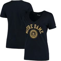 Notre Dame Fighting Irish Champion Women's College Seal V-Neck T-Shirt - Navy - $21.99
