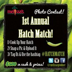 Photo Contest! Pick up some Hatch Chiles from one of our Roastings (click photo for roasting times & locations). You can also order the chiles online! Don't forget to tag... #HATCHMATCH! Good luck!!